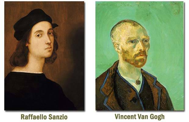 Self portraits or selfies of famous painters