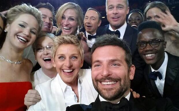 Group selfie taken by Ellen Degeneres and other Hollywood actors