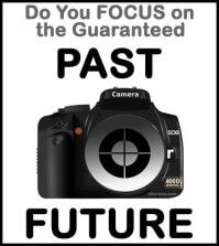 A focused camera with past or future captions above and below