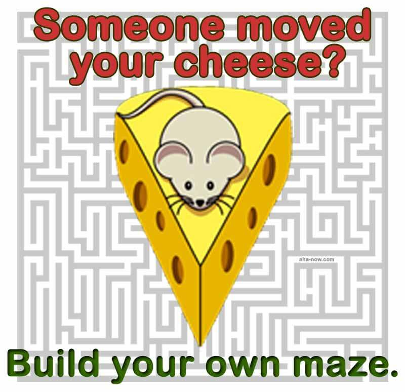 Mouse siting over a cheese piece in a maze.