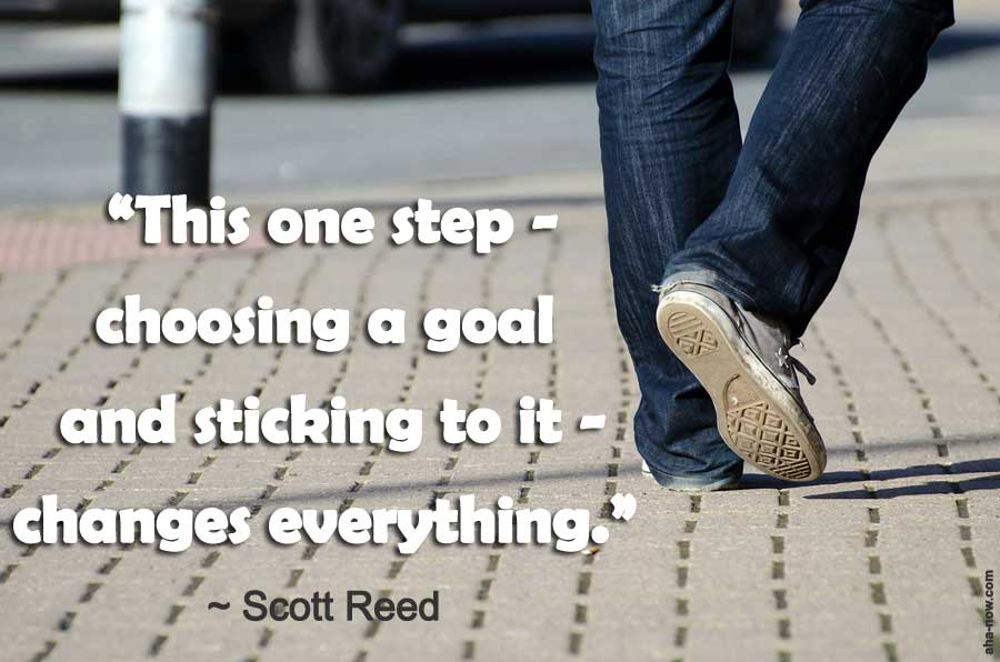 A person taking the first step to choose a smart goal