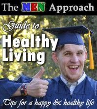 A man in doctorate robe pointing to healthy living guide