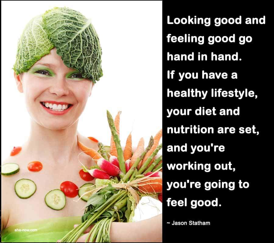 A girl feeling good with balanced nutrition and healthy diet