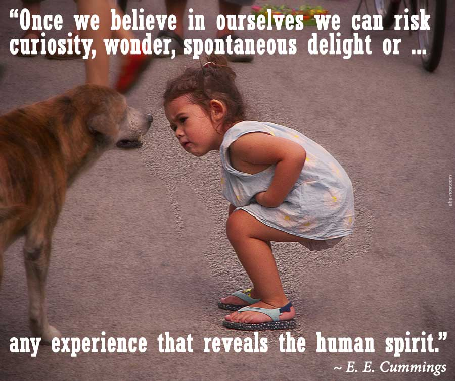 Little girl with self belief curiously watching a dog