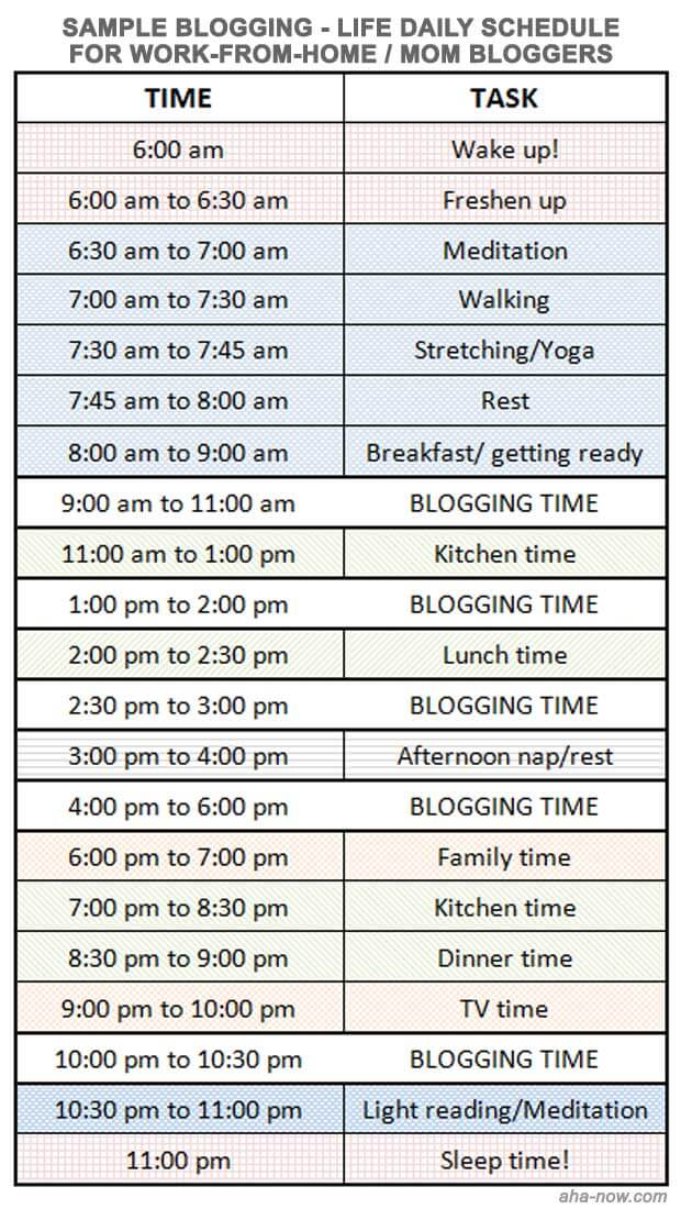 Blog-Life daily schedule for mom and work-at-home bloggers
