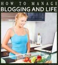 Woman managing blog and life by blogging in the kitchen