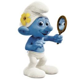 Smurf in a posture of criticism