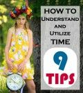 Girls with a clock in hand with quote on tips to utilize time