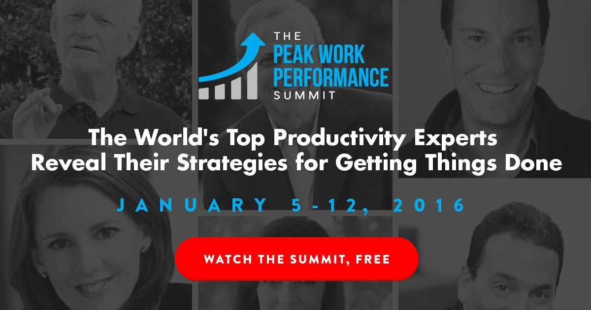 Peak work performance summit to teach how to get things done