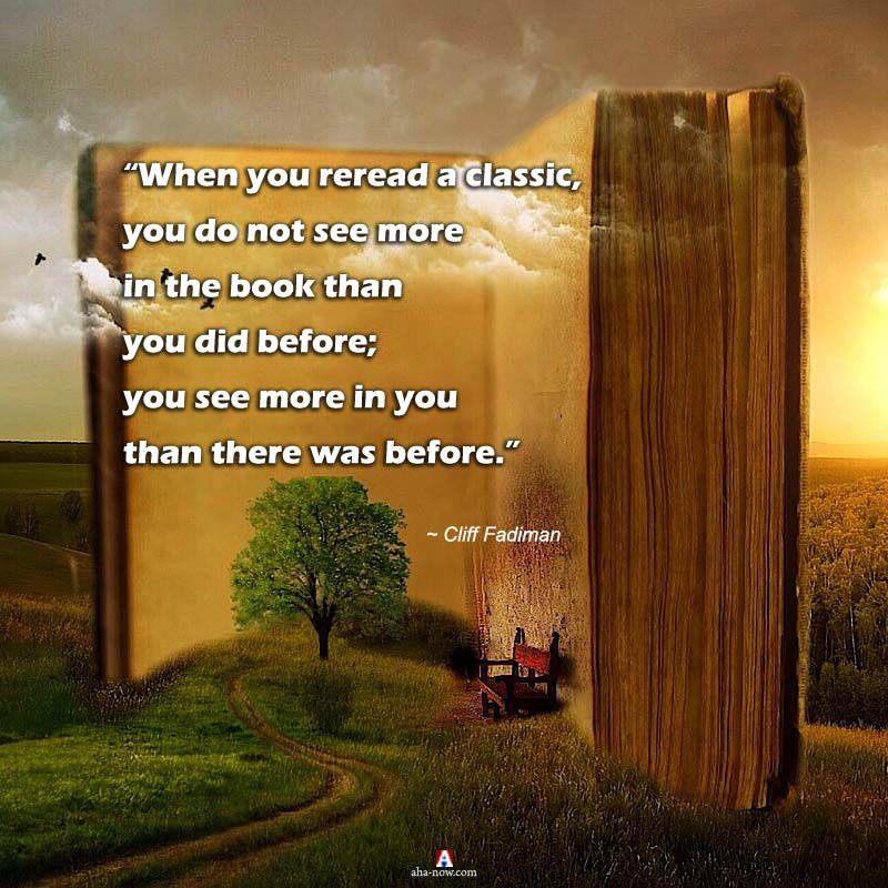A classic book quote on a big book monument