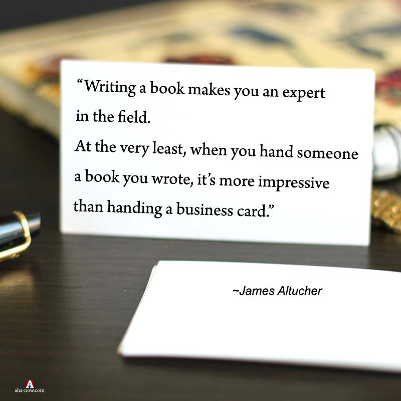 Writing a book quote on a visiting card