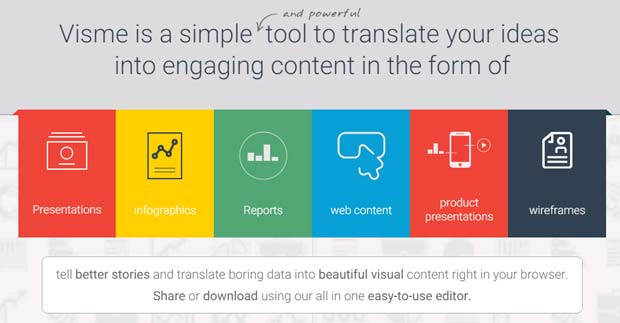 Visme is a simple tool to translate your ideas into engaging content