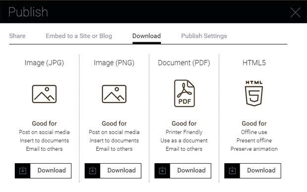 Visme Publish Download Options