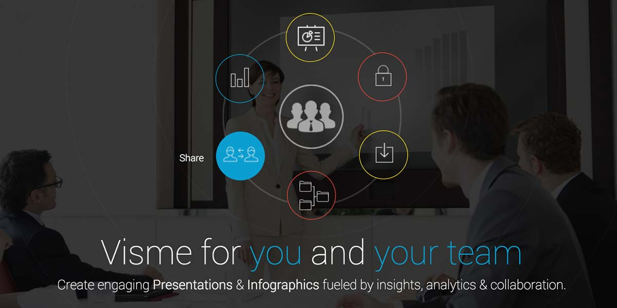 Creating engaging presentations and infographics by Visme team colloboraiton