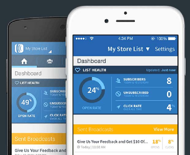 Screenshot of Aweber App