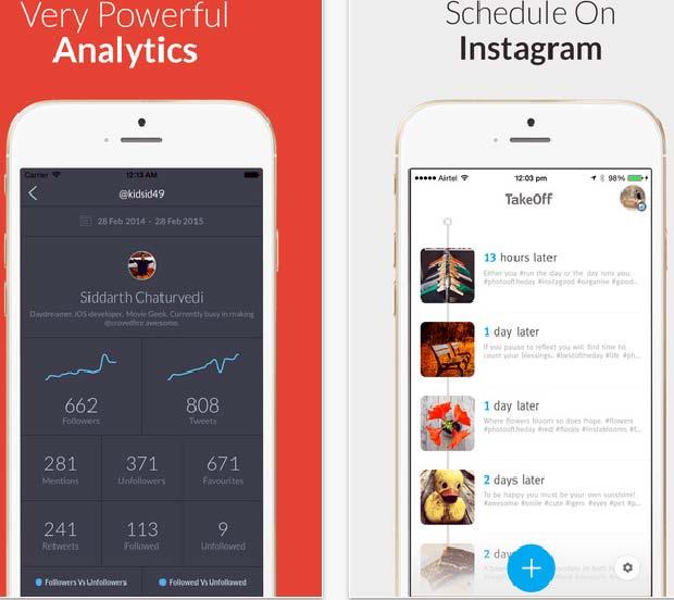 Screenshot of Crowdfire Schedule Instagram App
