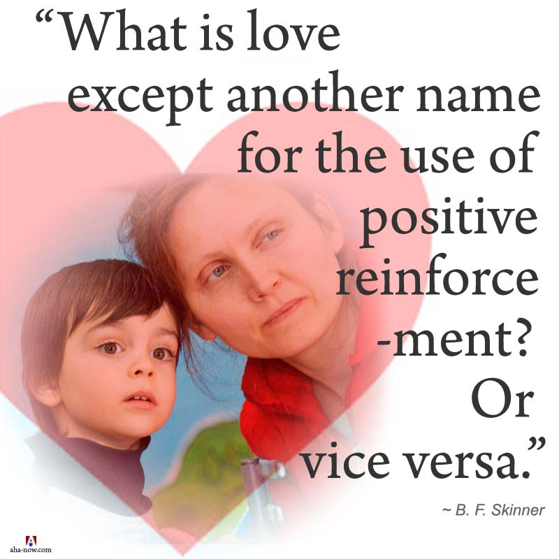 What is love except another name for the use of positive reinforcement? Or vice versa.