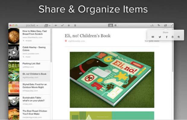 Screenshot of Pocket App