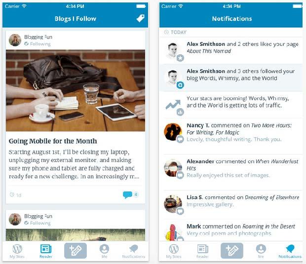 Screenshot of WordPress App