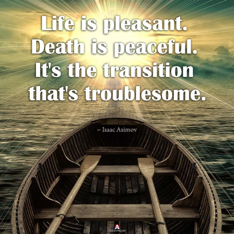 Life is pleasant. Death is peaceful. It's the transition that's troublesome.