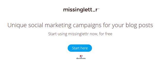 Missingletter social marketing campaign information