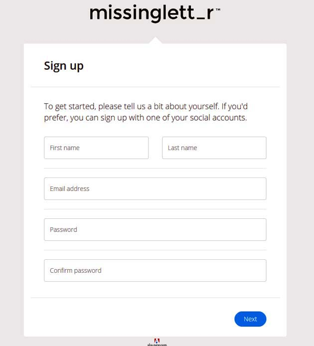 Sign up form of missinglettr