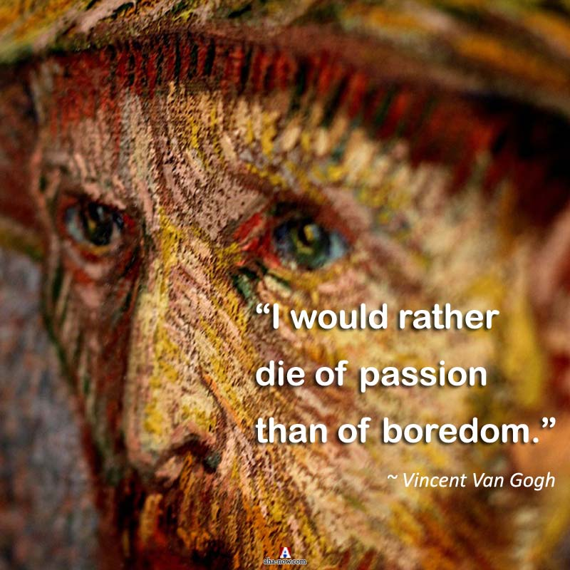"""""""I would rather die of passion than of boredom."""" ~ Vincent Van Gogh"""