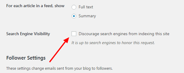 How to check search engine visibility status on WordPress site
