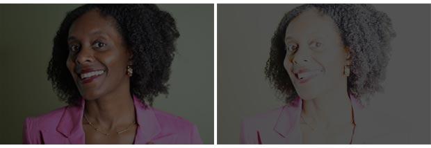 Light and dark photos of the closeup of a girl