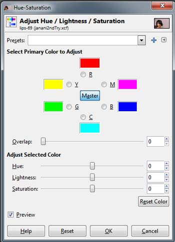 Hue and saturation window of software