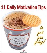Daily motivation tips written on the coffee mug