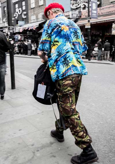 Man in Hawiian print shirt
