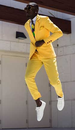 man in yellow suit