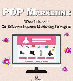 Advertising display shows POP Marketing for Internet strategies