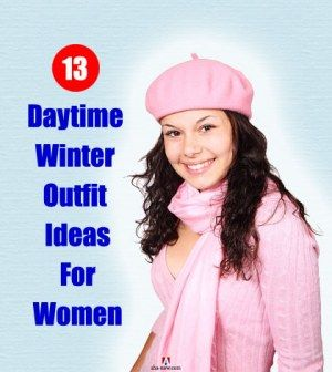 Girl displaying pink winter outfit for women