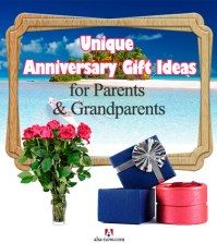 Poster showing anniversary gift ideas for parents and grandparents like flower bouquet, gifts, and getaways