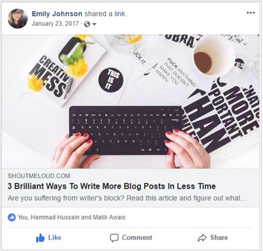 Example of how readers can share your content on social media