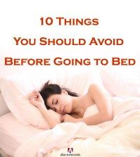 Picture of woman sleeping on bed with text 10 things you should avoid before going to bed