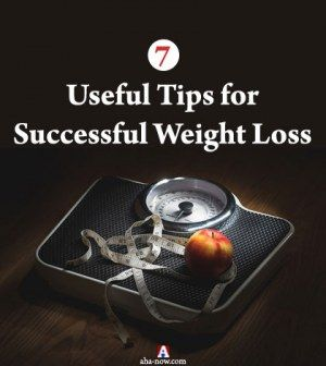 Picture of measuring tape and apple on weighing machine with text useful tips for successful weight loss
