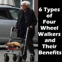 A senior walking using a 4-wheel walker