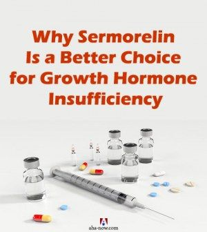 Syringe, injections and medicines of Sermorelin for growth hormone insufficiency treatment