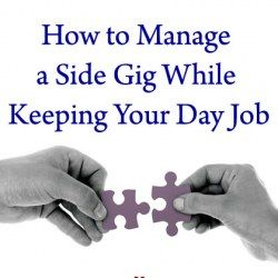 Joining two puzzle pieces by hand as a symbol of how to manage a side gig along with a day job