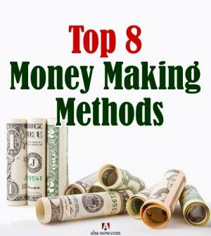 Rolls of cash notes denoting money making methods
