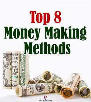 Rolls of cash notes denoting money making methods