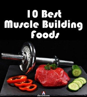 Photo of weights with meat and vegetables as foods that build muscles