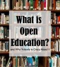 Caption what is open education on image of books library