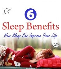 A girl sleeping with caption sleep benefits and sub caption how sleep can improve your life