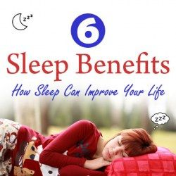A girl sleeping with caption sleep benefits and sub caption how sleep can improve your life