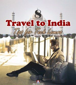 A tourist with tech gadgets on travel to India sitting with back drop of Taj Mahal