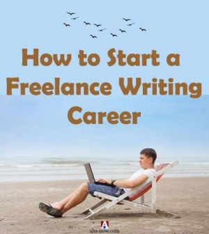 A man writing on laptop sitting in easy chair by the beach with text how to start a freelance writing career